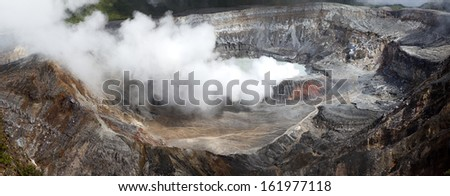 Panoramic view of Poas volcano of Costa Rica in Central America - stock photo