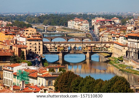 Panoramic view of Ponte Vecchio (Old Bridge), Florence, Italy - stock photo