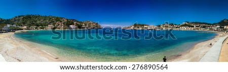 Panoramic view of Port De Soller - a typical mediterranean port with a beach in Mallorca island, Spain - stock photo