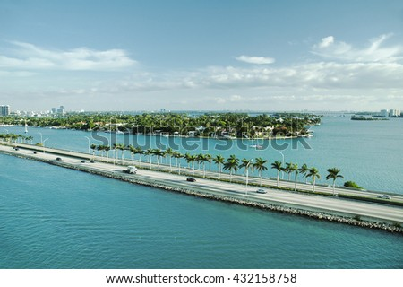 Panoramic view of Port Everglades, Fort Lauderdale, USA - stock photo