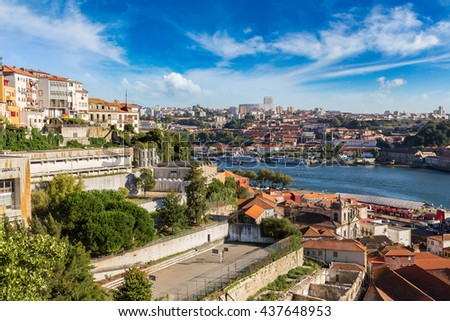 Panoramic view of Porto, Portugal in a summer day