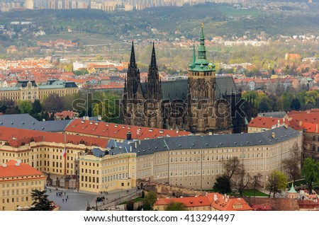 Panoramic view of Prague Castle and Saint Vitus Cathedral, Czech Republic.