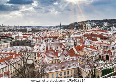 Panoramic view of Prague from the Prague Castle on a cloudy winter day, Prague, Czech Republic - stock photo