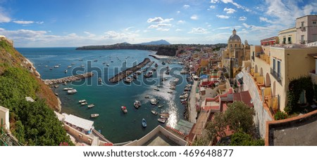 Panoramic view of Procida island, Mediterranean Sea, Italy, Europe
