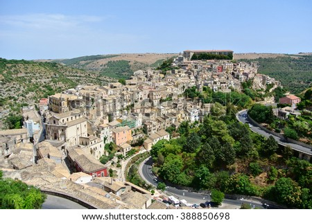 Panoramic view of Ragusa (Sicily-Italy)