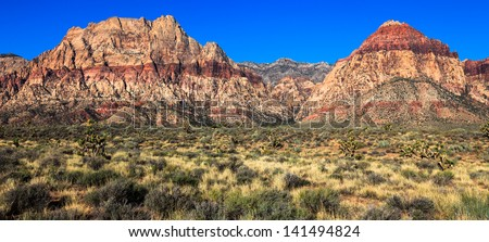 Panoramic view of Red Rock Canyon Conservation Area, Nevada. - stock photo