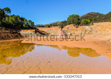 Panoramic view of remains in antique exploitation of copper mine in village Sotiel Coronada in  Huelva, Andalusia, Spain