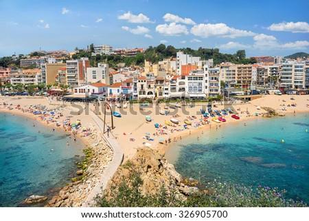 Panoramic view of resort town and beach Blanes. Costa Brava, Catalonia, Spain - stock photo