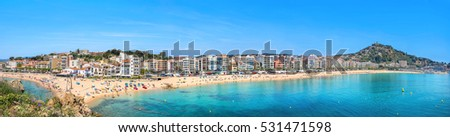 Panoramic view of resort town and beach in Blanes. Costa Brava, Catalonia, Spain.