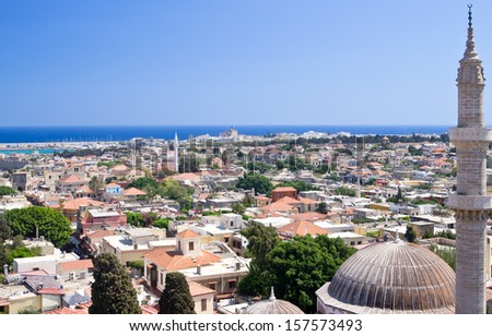 Panoramic view of Rhodes old town on Rhodes island, Greece
