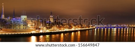 Panoramic view of Riga by night