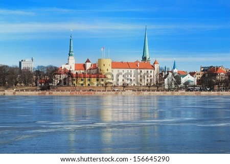 Panoramic view of Riga presidential palace in winter - stock photo