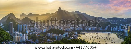 Panoramic view of Rio De Janeiro, Brazil landscape, Corcovado Moutain in Sunset - stock photo