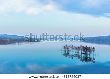 panoramic view of river in natural park of Xuyu,Jiangsu province,China.