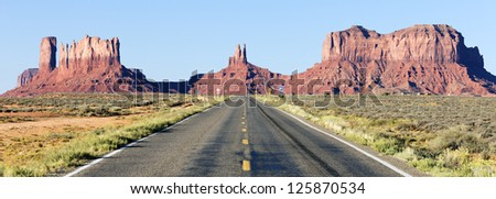panoramic view of  road to Monument Valley, USA