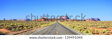 Panoramic view of road to Monument Valley, USA - stock photo