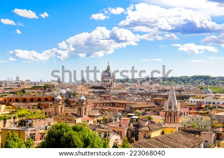 panoramic view of Rome and St. Peter's Basilica, Italy - stock photo
