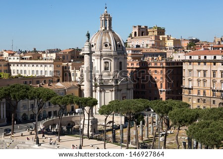 Panoramic view of Rome from Vittoriano building on the piazza Venezia, Italy - stock photo