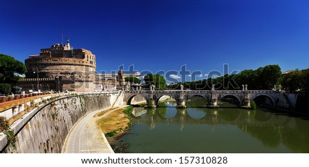 panoramic view of Rome with Castelo De Sant' Angelo - stock photo