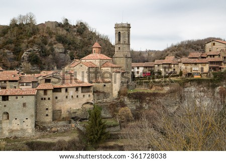 Panoramic view of Rupit, a medieval village that has retained its charm and magic of the time, built around a mountain of stone, with small houses