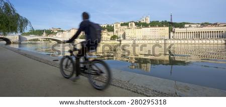 Panoramic view of Sa�´ne river, Lyon, France. - stock photo