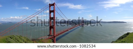 Panoramic view of San Francisco Bay, and the Golden Gate Bridge, of course.