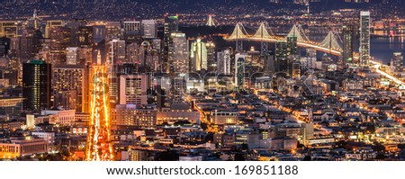 Panoramic view of San Francisco downtown from Twin Peaks. - stock photo