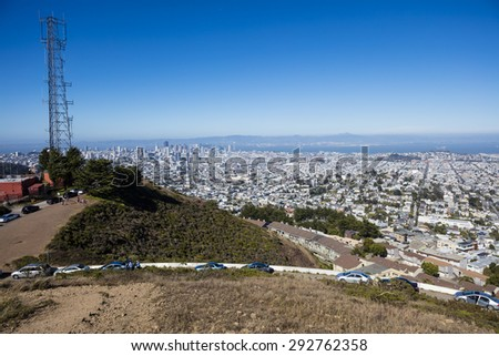 Panoramic view of San Francisco taken from Twin Peaks - stock photo