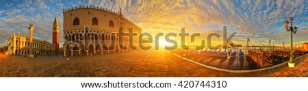 Panoramic view of San Marco square and Doge's palace at sunrise, Venice, Italy - stock photo