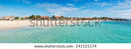 Panoramic view of Santa Maria beach in Sal Cape Verde - Cabo Verde