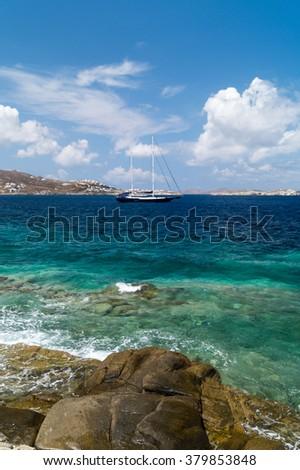 Panoramic view of Santorini  island, Greece - stock photo