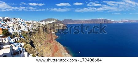 Panoramic view of Santorini island, Greece.Copy space - stock photo