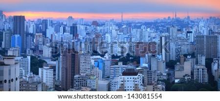 Panoramic view of Sao paulo skyline - stock photo