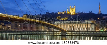 Panoramic view of Saone river at Lyon by night, France - stock photo