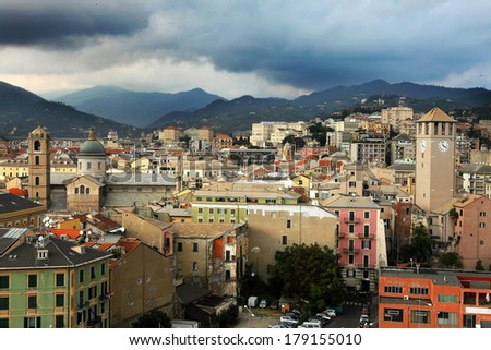 panoramic view of Savona town in the afternoon - stock photo