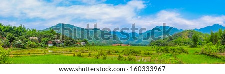 Panoramic view of scenic countryside, rural landscape, village, Vietnam, Southeast Asia