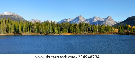 Panoramic view of scenic Molas lake in colorado - stock photo