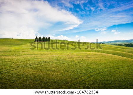 Panoramic view of scenic Tuscany landscape, Val d'Orcia, Italy