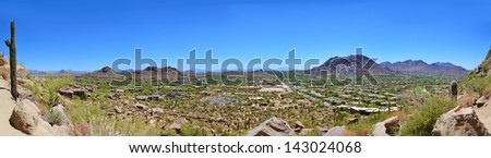 Panoramic View of Scottsdale, Arizona from the Top of Pinnacle Peak Mountain - stock photo