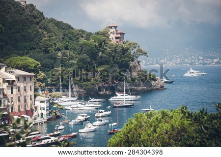 Panoramic view of Seaside villas near Portofino in Italy, holiday destination of celebrities - stock photo