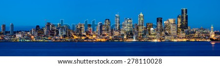 Panoramic view of Seattle skylines in blue hour from Alki Beach, West Seattle, Washington, USA. - stock photo