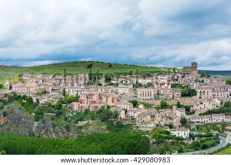 Panoramic view of Sepulveda, Segovia, Spain