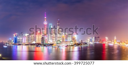 panoramic view of shanghai at night ,China