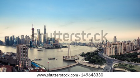 panoramic view of shanghai,China. - stock photo