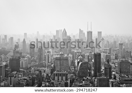 Panoramic view of Shanghai from the top of a tower in Lujiazui, Shanghai, China.