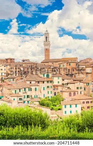 Panoramic view of Siena, Italy - stock photo