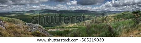 Panoramic view of Sierra de la culebra in Spain