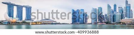 Panoramic View of Singapore city from the bay on evening - stock photo