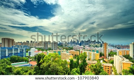 Panoramic View of Singapore Cityscape from Mount Faber - stock photo