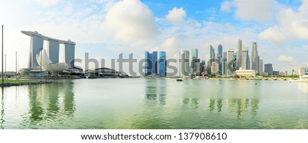 Panoramic view of Singapore in the sunshine morning - stock photo